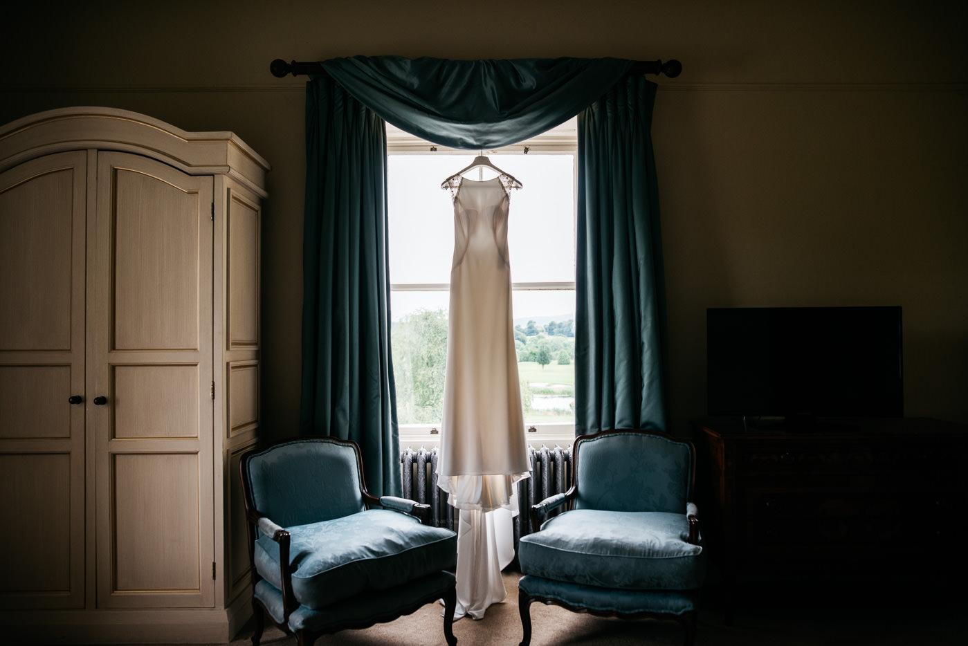 wedding dress in Tulfarris House in Blesington